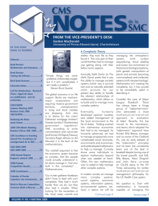 from the vice-president`s desk - Canadian Mathematical Society