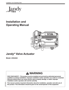 installation and operating manual jandy� valve actuator warning Valve Actuator Contactor Diagram