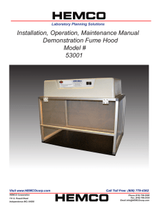 Installation, Operation, Maintenance Manual Demonstration Fume