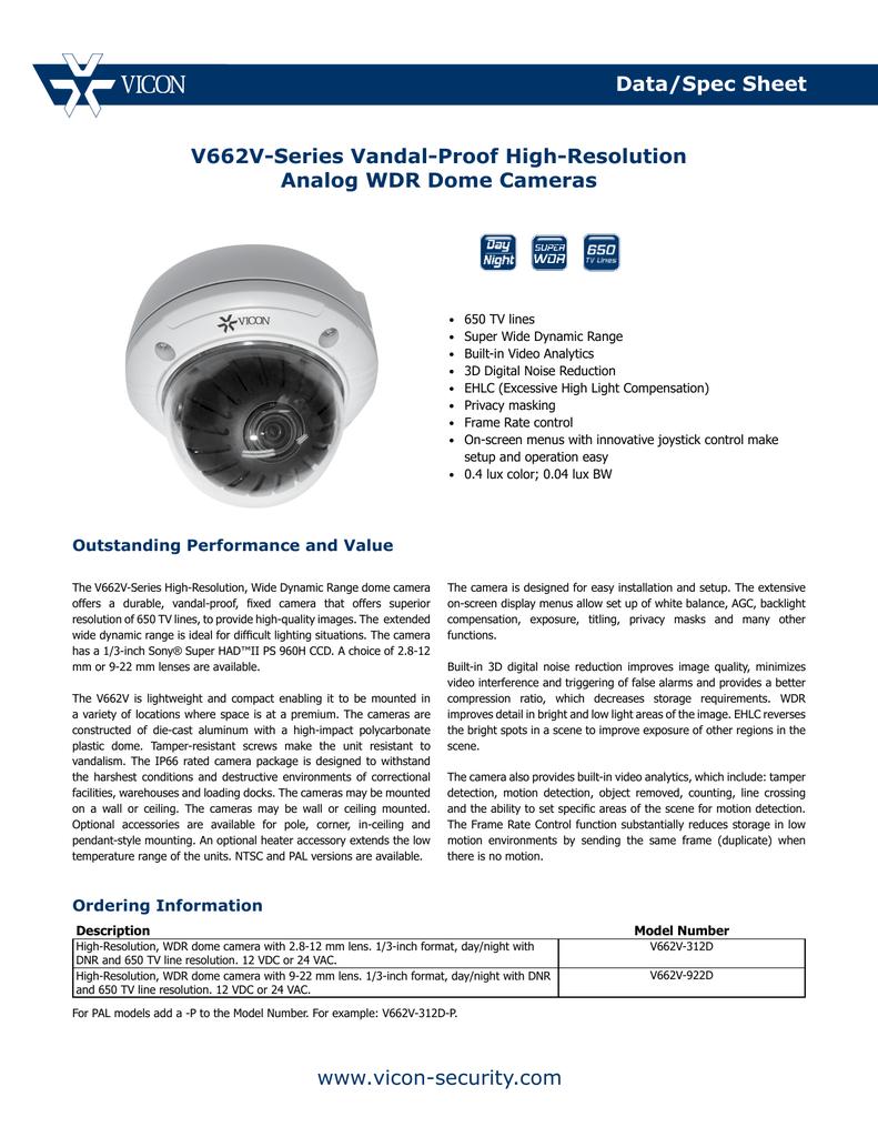Data/Spec Sheet www vicon-security com V662V