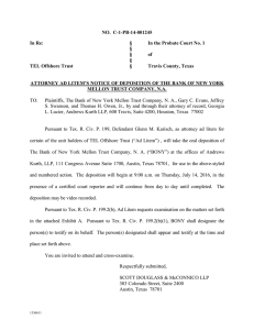 Attorney Ad Litem`s Notice of Deposition of The Bank of New York