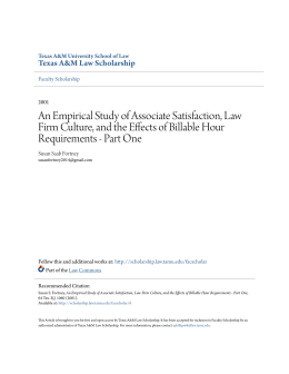 An Empirical Study of Associate Satisfaction, Law Firm Culture, and