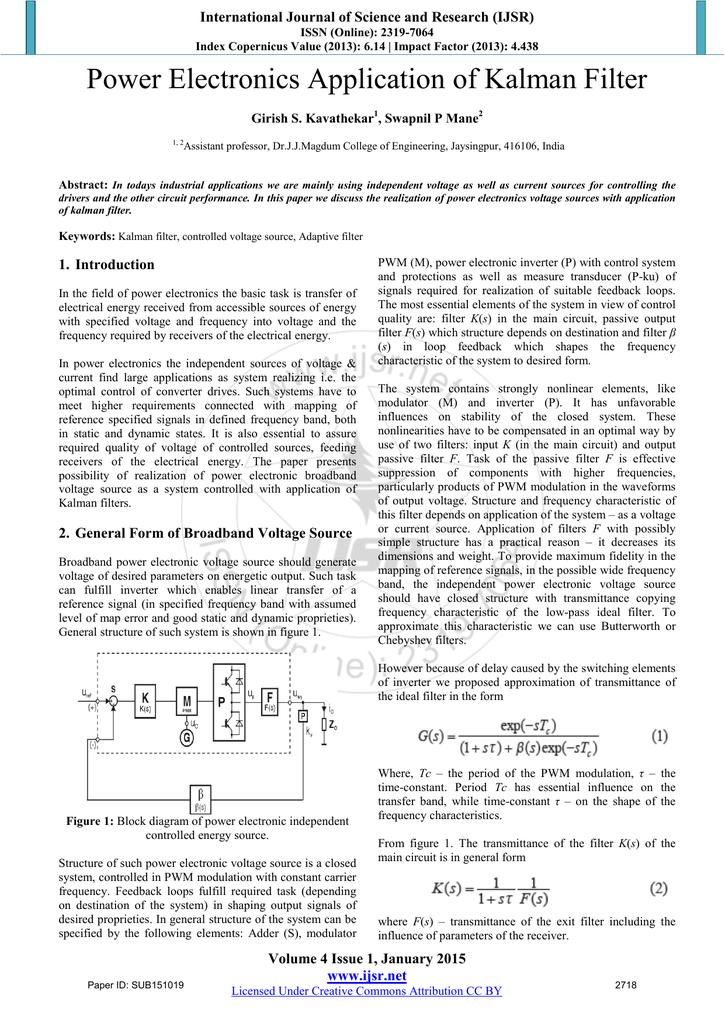 Power Electronics Application of Kalman Filter