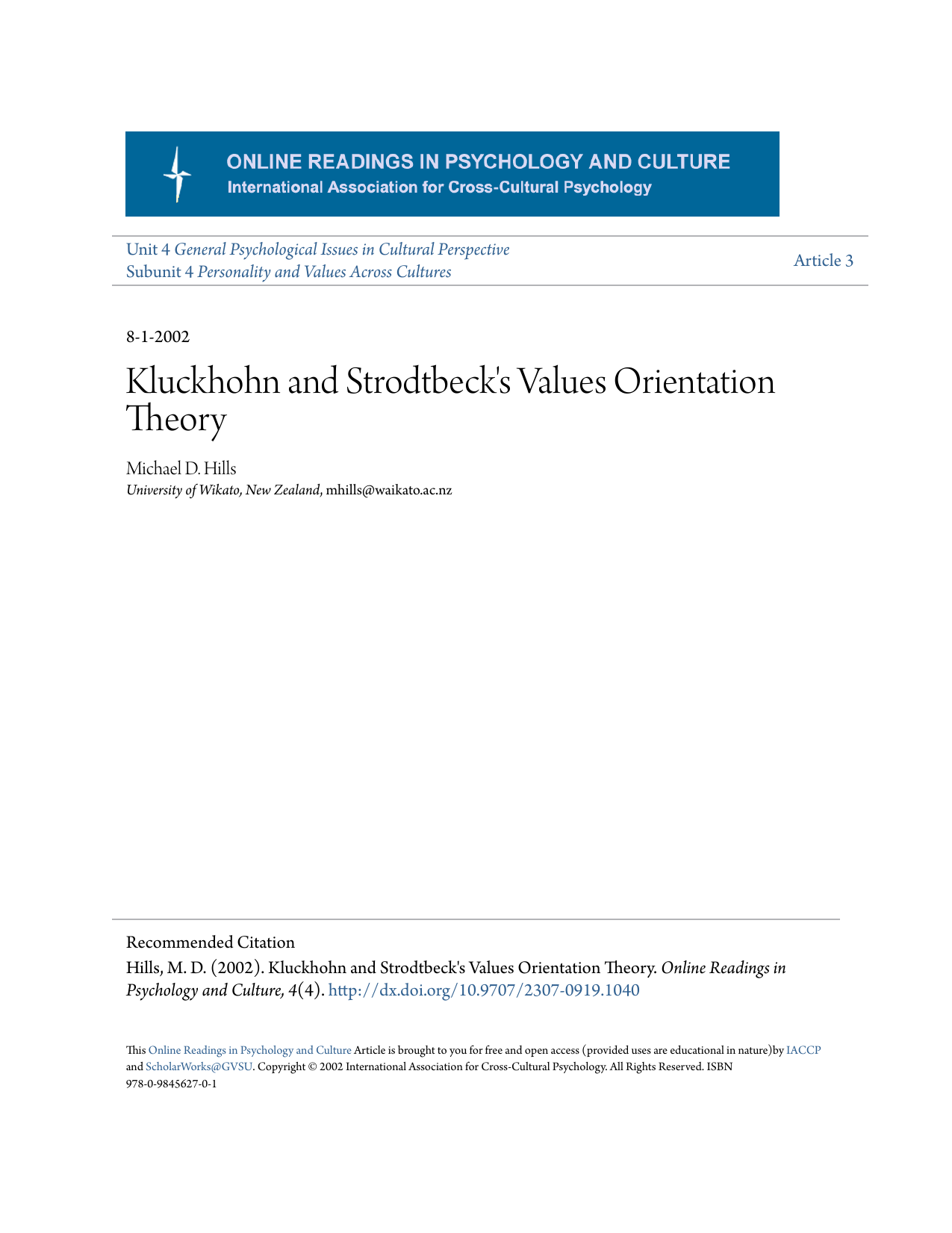 kluckhohn and strodtbeck example