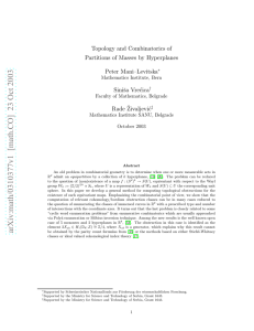 Topology and Combinatorics of Partitions of Masses by Hyperplanes