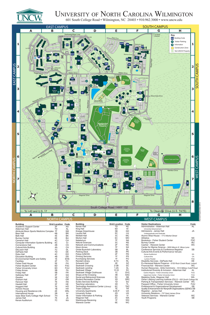 Campus Map - University of North Carolina Wilmington on stanford building map, south alabama building map, unc building map, radford building map, tennessee building map, auburn building map, nccu building map, pepperdine building map, vanderbilt building map, sfsu building map, northeastern building map, usc building map, american university building map, coastal carolina building map, wichita state building map, indiana building map, old dominion building map, georgia tech building map, csuf building map, clemson building map,