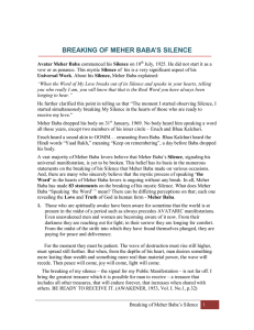 breaking of meher baba`s silence