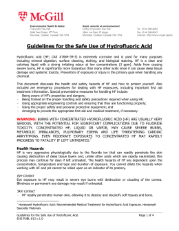 Guidelines for the Safe Use of Hydrofluoric Acid