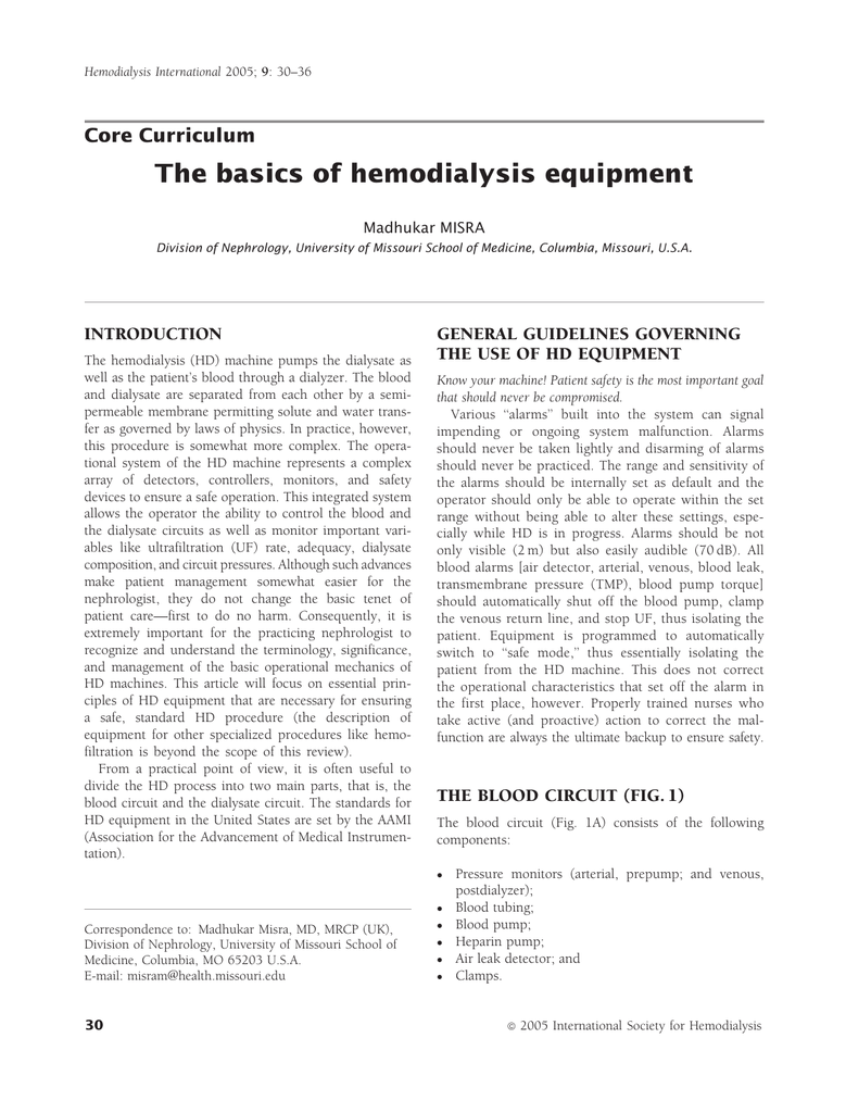 The basics of hemodialysis equipment