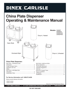 China Plate Dispenser Manual - Carlisle FoodService Products