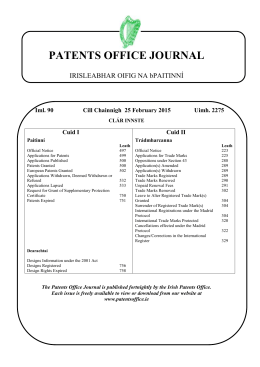 Journal 2275 - Patents Office