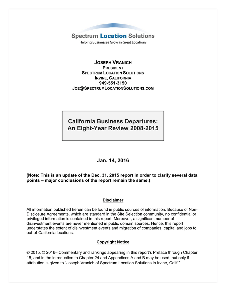 California Business Departures: An Eight-Year Review 2008-2015