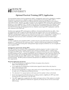 Optional Practical Training (OPT) Application