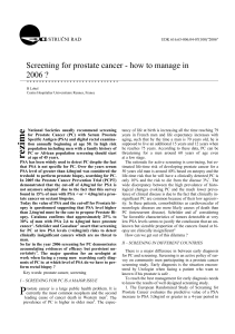 Screening for prostate cancer: How to manage in 2006