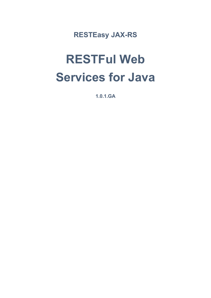 RESTFul Web Services for Java
