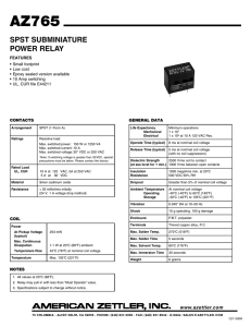 SPST SUBMINIATURE POWER RELAY