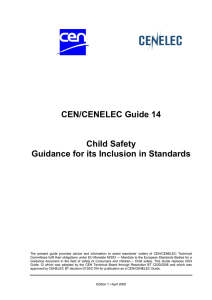 CEN/CENELEC Guide 14 Child Safety Guidance for its Inclusion in