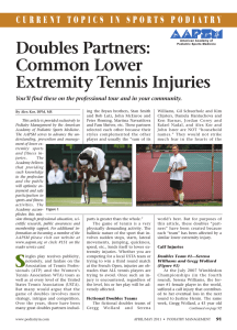 Doubles Partners: Common Lower Extremity Tennis Injuries