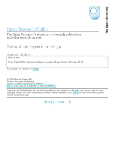 Open Research Online Natural intelligence in design oro.open.ac.uk