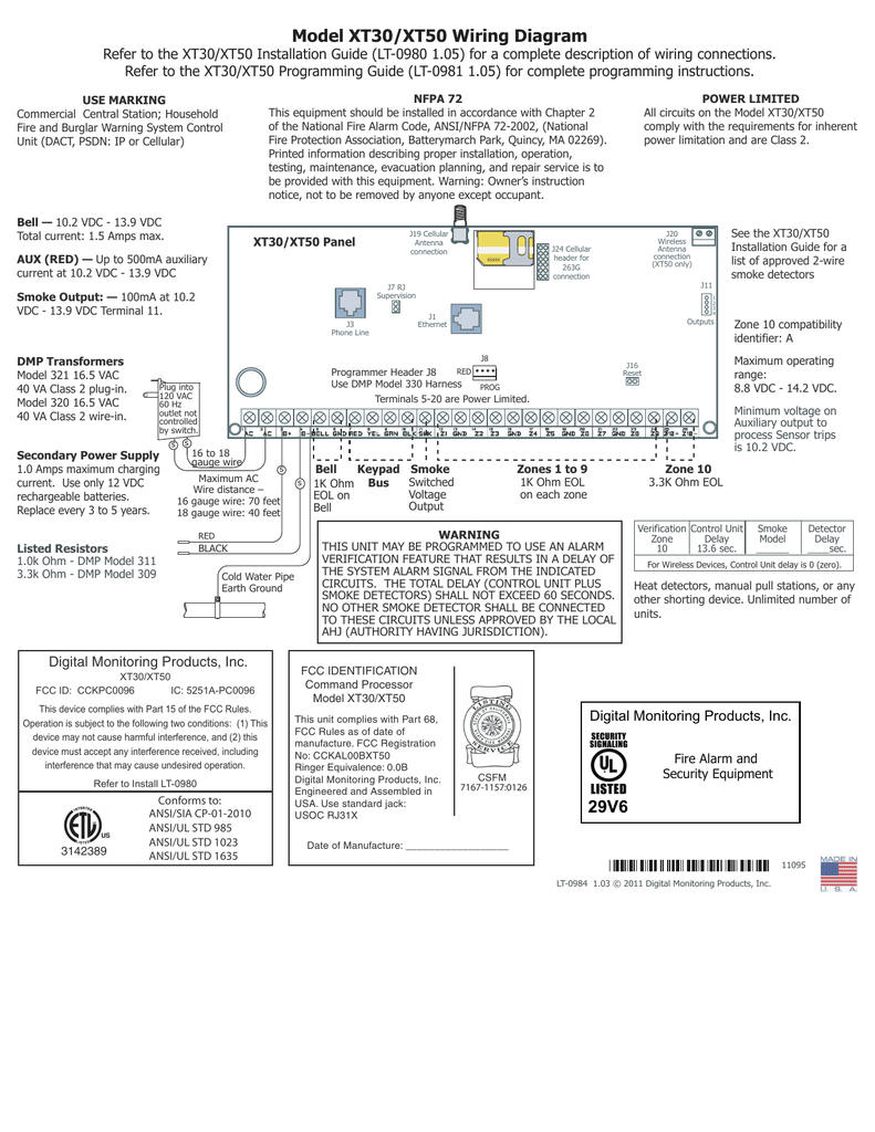 Xt 30 50 Wiring Sheet Vallance Security Systems Ansi Diagram