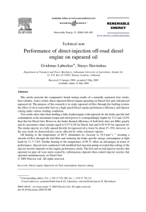 Performance of direct-injection off-road diesel
