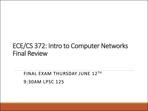 ECE/CS 372: Intro to Computer Networks Final Review