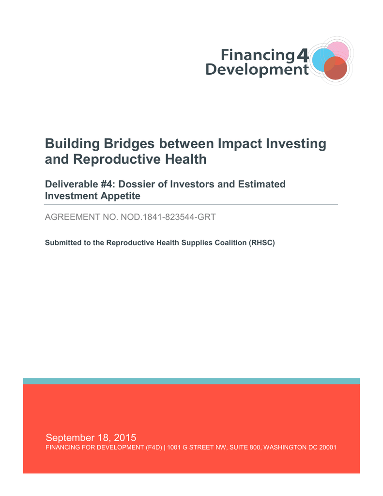 Dossier of Investors and Estimated Investment Appetite Report