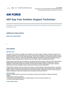 ADF Gap Year Aviation Support Technician