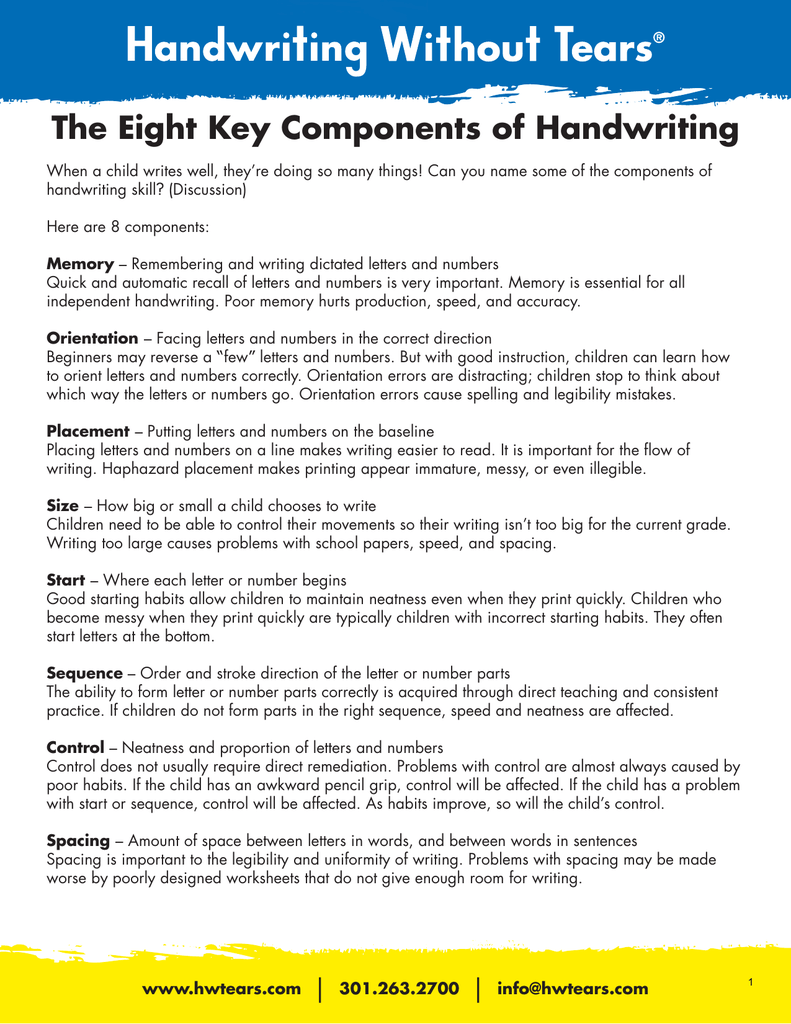 The Eight Key Components of Handwriting