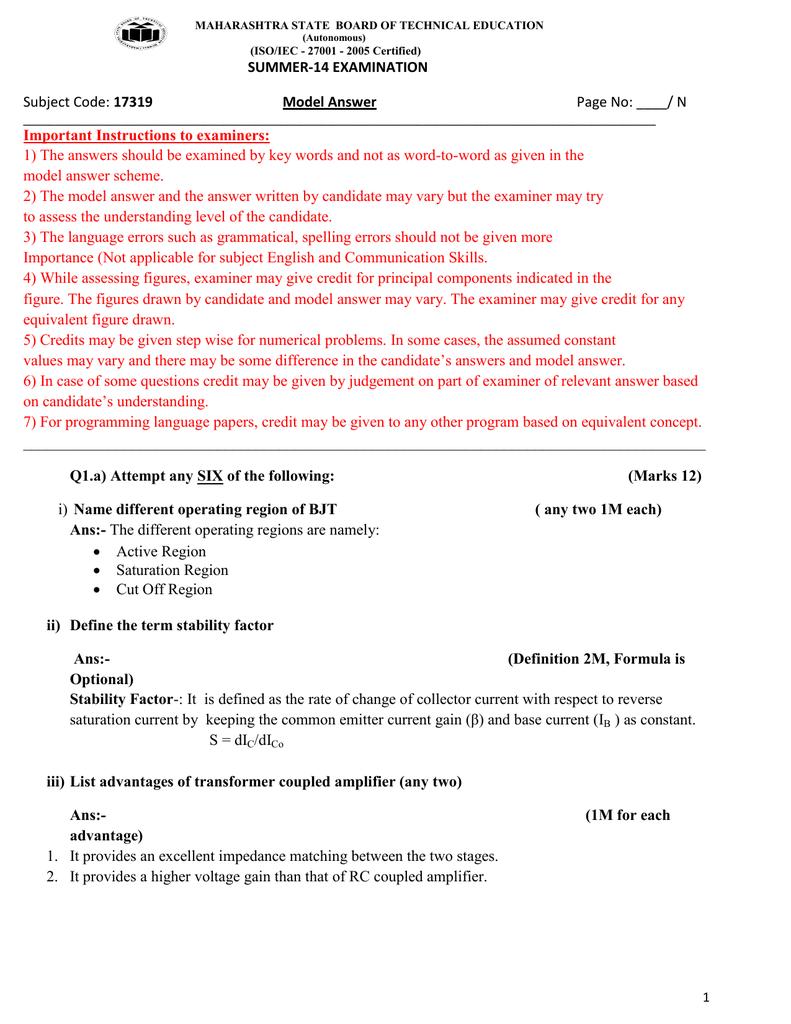 Summer 14 Examination Subject Code 17319 Model Answer Jfet Pierce Crystal Oscillator Circuit Schematic Diagram