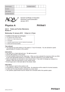 A-level Physics A Question paper Unit 04 - (A) Fields and