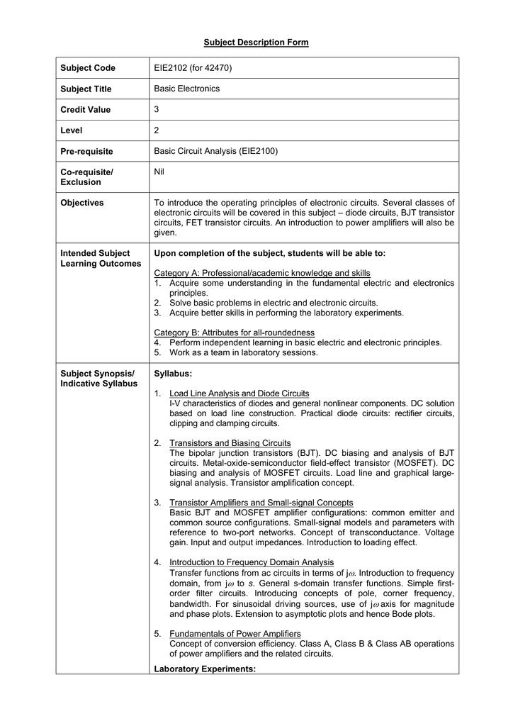 Subject Description Form Subject Code EIE2102 (for 42470) Subject