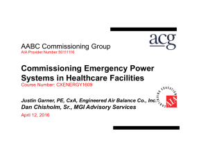 Commissioning Emergency Power Systems in Healthcare Facilities