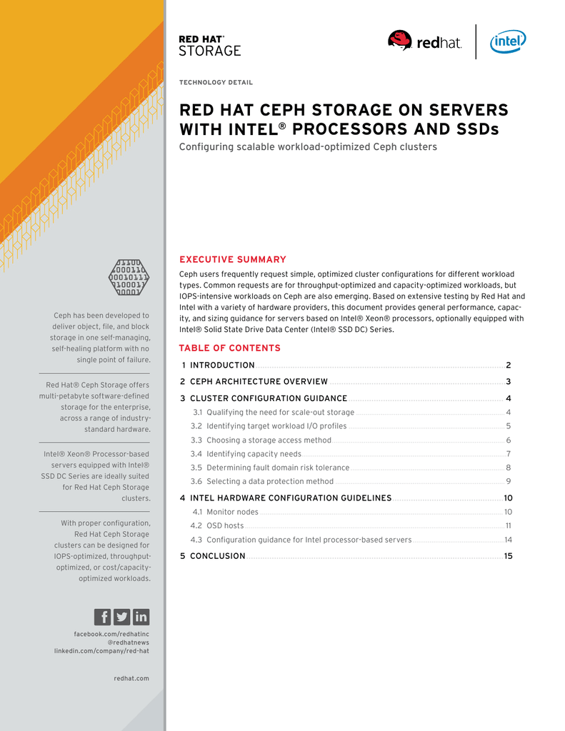 Red Hat Ceph Storage on Servers with Intel Processors and SSDs