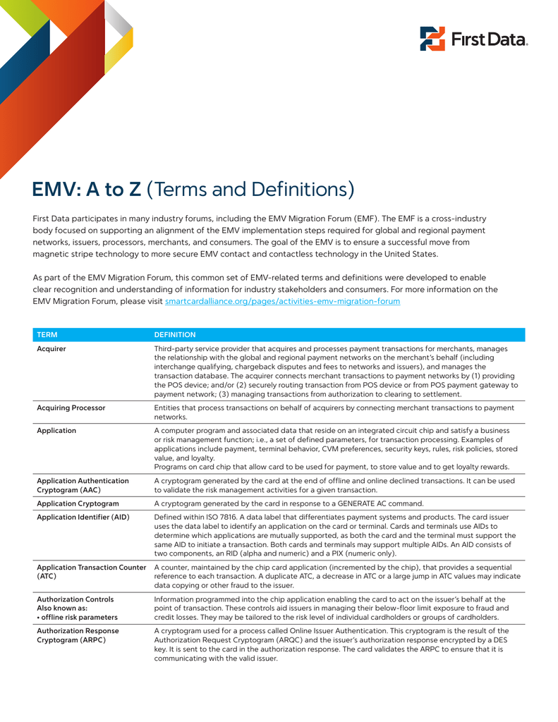EMV: A to Z (Terms and Definitions)