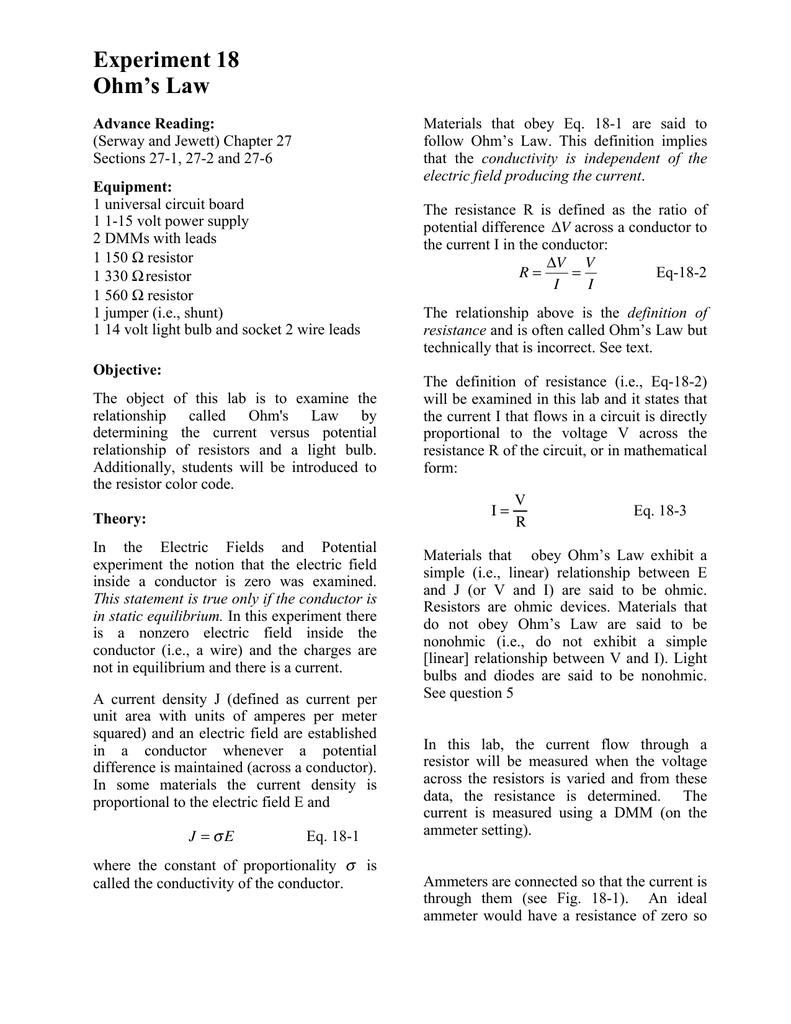 Ohms Law Jewett Wiring Diagram
