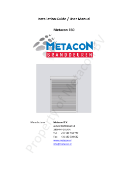 Installation Guide / User Manual Metacon E60