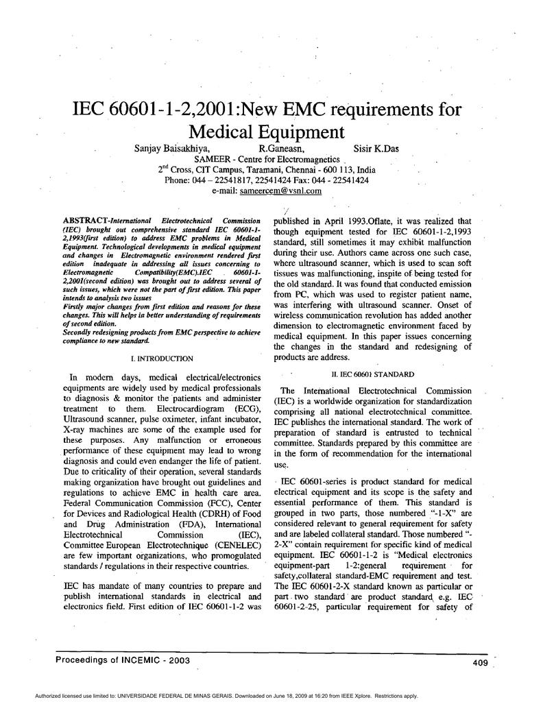 Iec 60601 1 22001new emc requirements for medical equipment biocorpaavc
