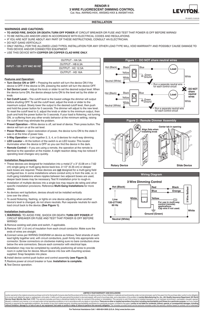 renoir ii 3 wire fluorescent dimming control