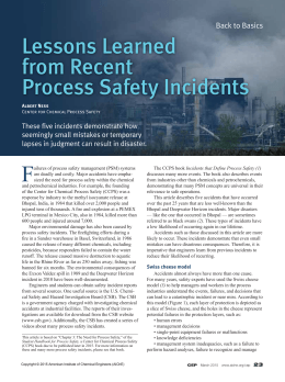Lessons Learned from Recent Process Safety Incidents