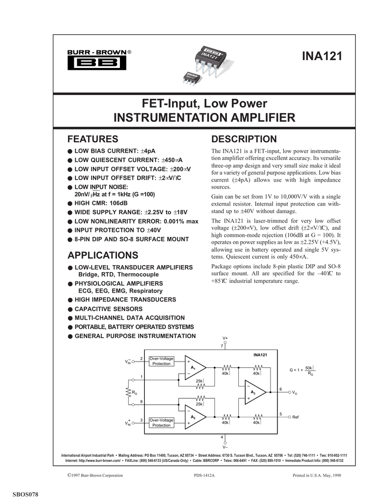 Fet Input Low Power Instrumentation Amplifier Ac Coupling And Offset Voltage In