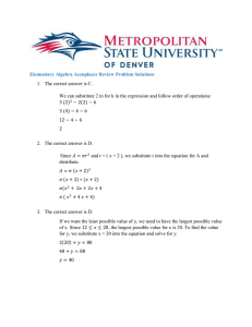 Elementary Algebra Accuplacer Review Problem Solutions 1. The