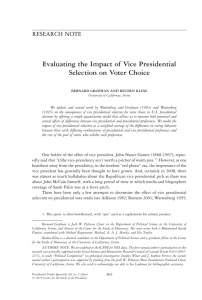 Evaluating the Impact of Vice Presidential Selection on Voter