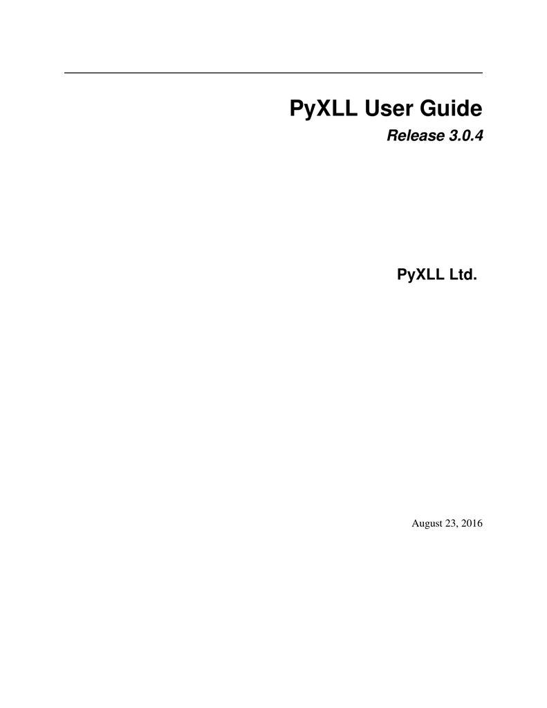 PyXLL User Guide