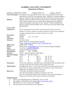 PHY2054 Syllabus - Florida Atlantic University