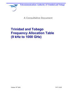 Trinidad and Tobago Frequency Allocation Table (9 kHz to 1000 GHz)