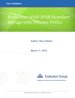 Evaluation of HP 3PAR StoreServ Storage with VMware VVOL`s