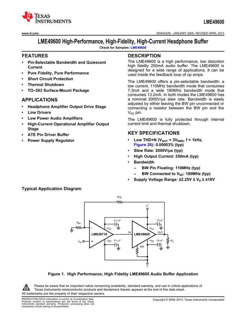 Lme49600 Texas Instruments Diagram Also Headset Lifier Test Circuit Simplified Schematic