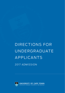 Directions for Undergraduate Applicants