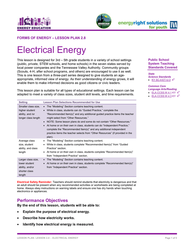 LESSON PLAN 2.8 Electrical Energy